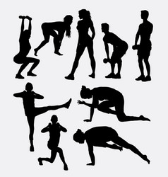 male and female training sport silhouette vector image