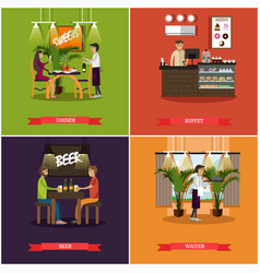 set of pub concept posters in flat style vector image vector image