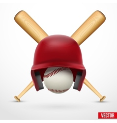 Symbol of a baseball Helmet ball and two bats vector image vector image