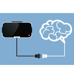 virtual reality glasses connect to brain vector image vector image