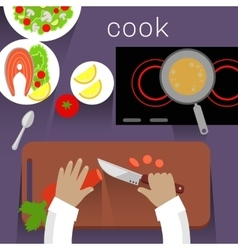 Work Space Cook Design Flat Concept vector image vector image