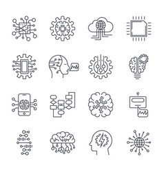artificial intelligence icon set editable stroke vector image vector image