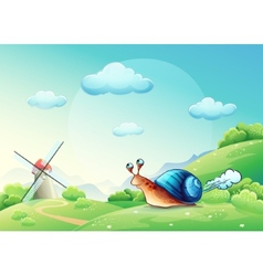 cheerful snail on a meadow vector image vector image