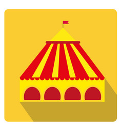 circus pavilion yellow tent icon flat style with vector image