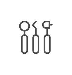dental tools line icon vector image