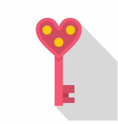 Love key icon flat style vector