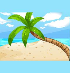 ocean scene with tree on beach vector image vector image