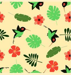pattern with cartoon hummingbird vector image