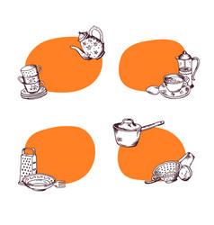set hand drawn kitchen utensils vector image