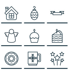 set of 9 celebration icons includes christmas toy vector image vector image