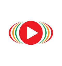 abstract play button sound logo vector image