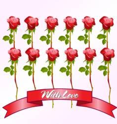 dozen red roses vector image vector image