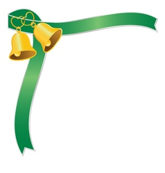 Golden wedding bell and green ribbon vector