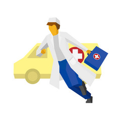hurrying doctor with ambulance car at the back vector image vector image