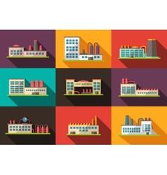 Set of flat design industrial buildings pictograms vector image vector image