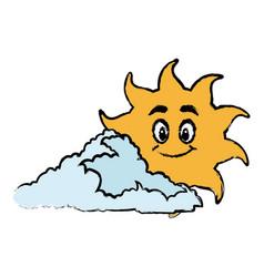 sun and cloud cartoon mascot drawn vector image