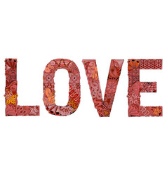 word love for coloring decorative zentangle vector image vector image