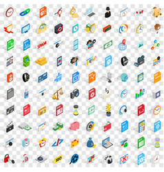 100 video icons set isometric 3d style vector image