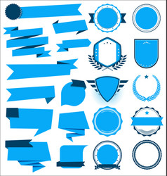 a collection various blue ribbons badges vector image