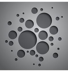 Abstract background with black and grey circles vector image