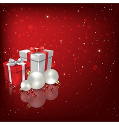 Abstract red background with Christmas decorations vector image
