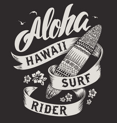 Aloha typography with surfboard for t-shirt vector