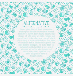 Alternative medicine concept with thin line icons vector