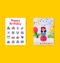banner celebrate birthday linear icon set vector image