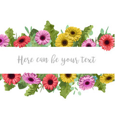 beautiful floral banner frame with multi-colored vector image
