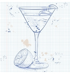 Between the sheets Coctail on a notebook page vector