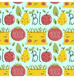 Bio food seamless pattern with fruit characters vector