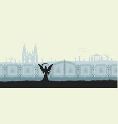 black silhouette of gothic cemetery reaper vector image