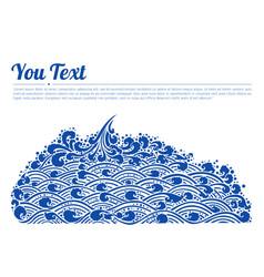 blue waves sea line thai art vector image
