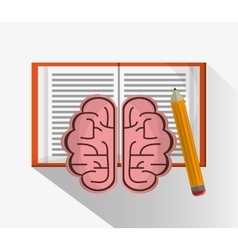 Book brain and pencil design vector