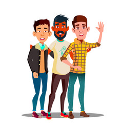 Brotherhood multiethnic male friends vector