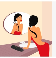 Brunette sensual woman looking at mirrow in WC vector