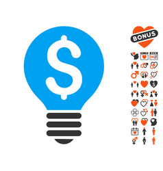 Business patent bulb icon with lovely bonus vector