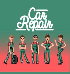 Car repair team vector