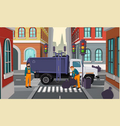 Cartoon city crossroad with garbage truck vector