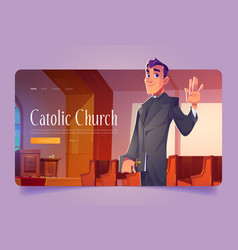 catholic church banner with pastor in cathedral vector image