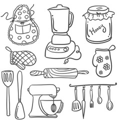 Collection stock of kitchen set doodles vector