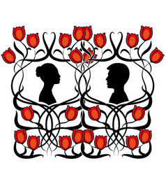 Couple man and woman with flowers vector