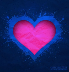 Creased old blue paper with cut pink heart vector