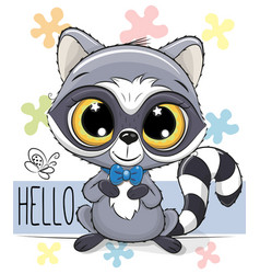 cute cartoon raccoon on a flowers background vector image