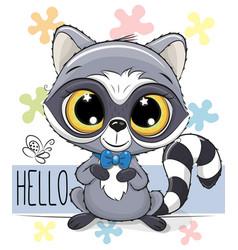 cute cartoon raccoon on a flowers background vector image