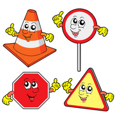 cute road signs collection vector image