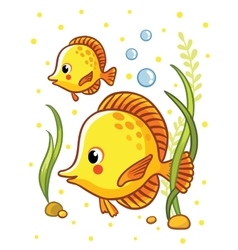 Cute sea yellow two fishes vector