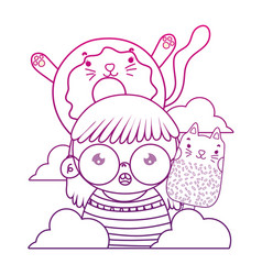 Degraded outline girl with kawaii cat donut and vector