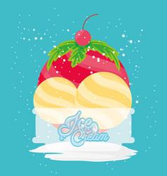 delicious ice cream in cups vector image