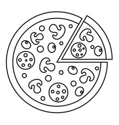 delicious pizza with mushrooms salami olives icon vector image